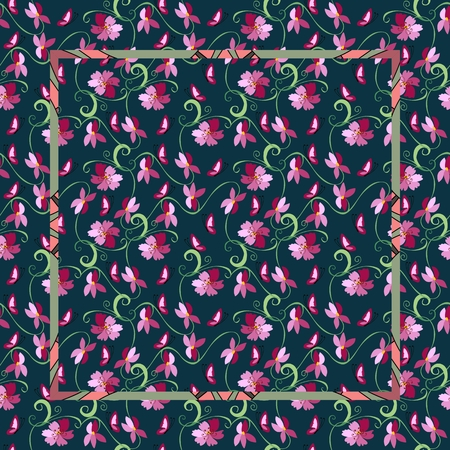bandana: Vintage bandana print with pink flowers on a dark background. Vector illustration. Easy editable pattern.