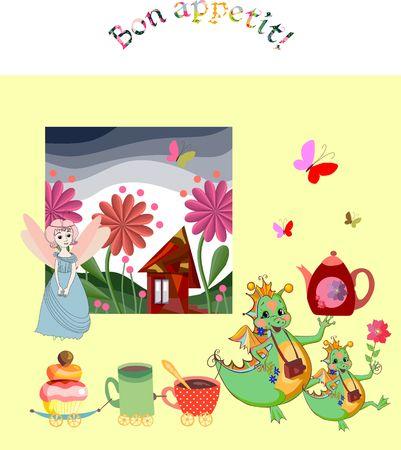 teatime: Fairy teatime. Cute little fairy and happy dragons wish Bon appetit!. Vector illustration.