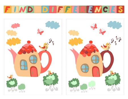 spot the difference: Find differences between two beautiful fairy houses - teapots. Cartoon vector illustration of education game for children. Illustration