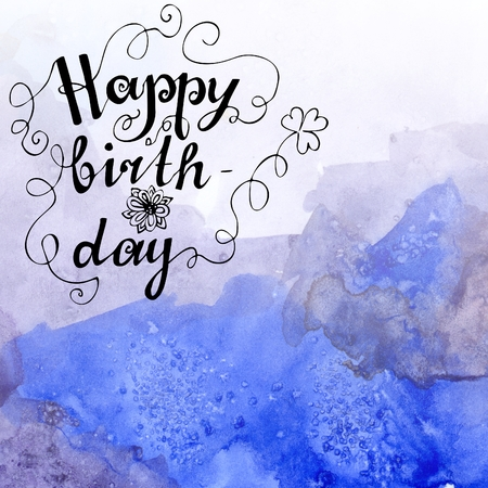 Happy birthday hand lettering on watercolor background with stock happy birthday hand lettering on watercolor background with blue mountains hand painted greeting card m4hsunfo