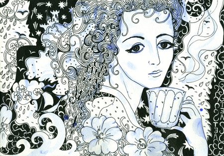 Tea with memories. Hand drawn doodle and watercolor illustration of beautiful girl. Black, white and blue.