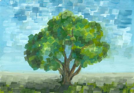 pictorial art: Gouache tree in summer day. Handmade illustration.