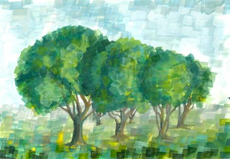 pictorial art: Gouache landscape with trees. Handmade illustration.