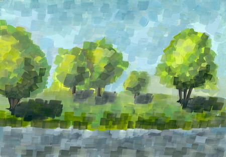 pictorial art: Gouache summer landscape. Handmade illustration.