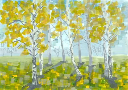 pictorial art: Gouache landscape. Early autumn. Birch trees. Handmade illustration.