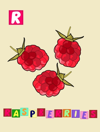 Cute cartoon english alphabet with colorful image and word. Illustration