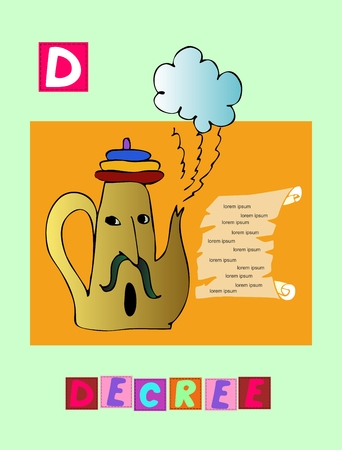 decree: Tea history. Cute cartoon english alphabet with colorful image and word. Kids vector ABC on green background. Letter D. Decree. Illustration