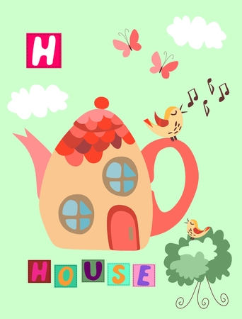 undergrowth: Tea history. Cute cartoon english alphabet with colorful image and word. Kids vector ABC on green background. Letter H. House.