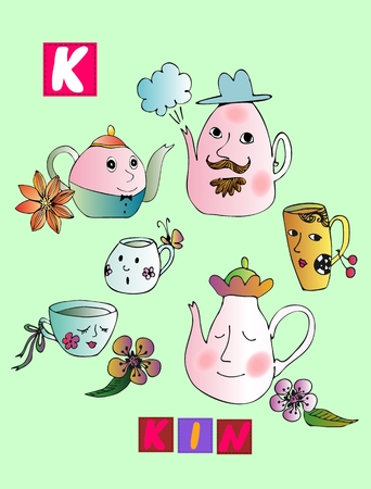 kin: Tea history. Cute cartoon english alphabet with colorful image and word. Kids vector ABC on green background. Letter K. Kin.