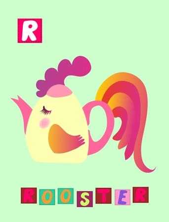 r image: Tea history. Cute cartoon english alphabet with colorful image and word. Kids vector ABC on green background. Letter R. Rooster.