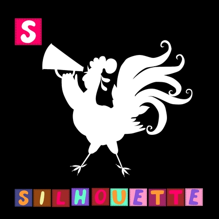 children s art: Year of the rooster. Cute cartoon english alphabet with colorful  image and word. Kids vector ABC. Letter S Illustration