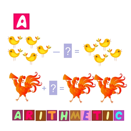 arithmetic: Year of the rooster. Cute cartoon english alphabet with colorful image and word. Kids vector ABC. Letter A. Arithmetic.