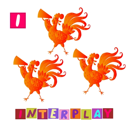 i kids: Year of the rooster. Cute cartoon english alphabet with colorful image and word. Kids vector ABC. Letter I. Interplay.