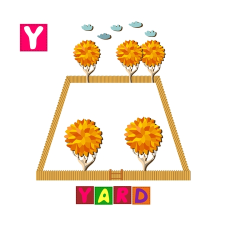yard: Year of the rooster. Cute cartoon english alphabet with colorful image and word. Kids vector ABC. Letter Y. Yard.