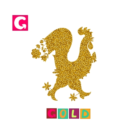 Year of the rooster. Cute cartoon english alphabet with colorful image and word. Kids vector ABC. Letter G. Gold.