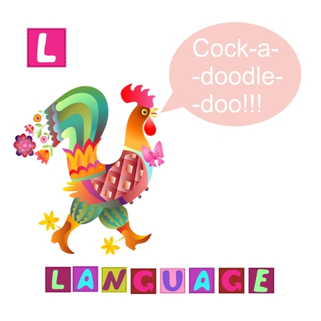 Year of the rooster. Cute cartoon english alphabet with colorful image and word. Kids vector ABC. Letter L. Language.