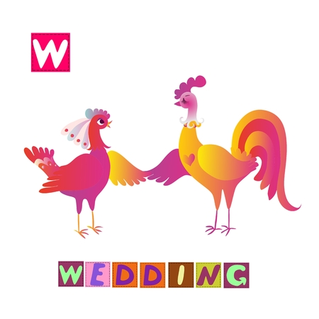 Year of the rooster. Cute cartoon english alphabet with colorful image and word. Kids vector ABC. Letter W. Wedding.