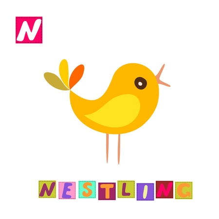 nestling: Year of the rooster. Cute cartoon english alphabet with colorful image and word. Kids vector ABC. Letter N. Nestling. Illustration