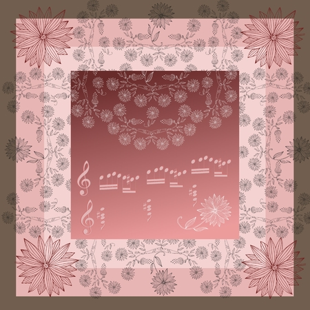 neck scarf: Lovely tablecloth or beautiful bandana print with floral border. Vector image. Hand drawn floral lace. Silk neck scarf with flowers on background in pink tones. Kerchief square pattern.