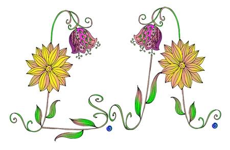 abbreviation: Los Angeles, floral abbreviation. Illustration