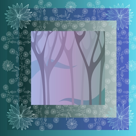 mysterious: Lovely tablecloth with mysterious forest and beautiful flowers. Bandana print or kerchief  square pattern design style for print on fabric. Vector illustration.