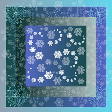 snowstorm: Snowstorm. Lovely tablecloth with snowflakes and beautiful flowers. Bandana print or kerchief square pattern design style for print on fabric. Quilt.