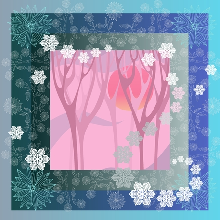 mysterious: Lovely tablecloth with mysterious forest and beautiful flowers. Bandana print or kerchief square pattern design style for print on fabric.