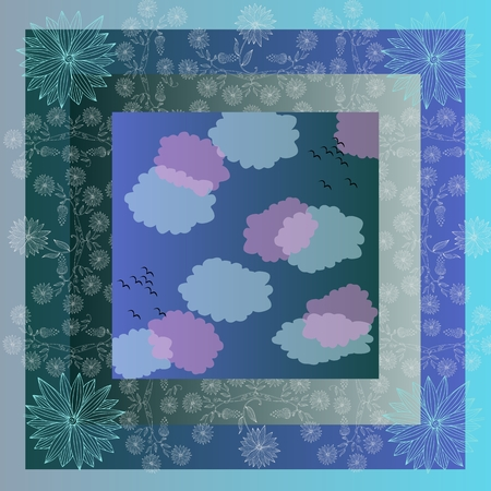 bandana: Lovely tablecloth with clouds and beautiful flowers. Bandana print or kerchief square pattern design style for print on fabric. Quilt.