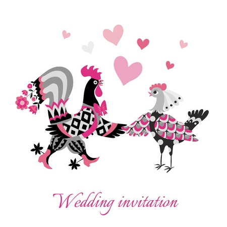 fiancee: Wedding invitation with cute cartoon cock and hen. Year of the rooster.  2017. Chinese zodiac. Greeting card. Vector image.