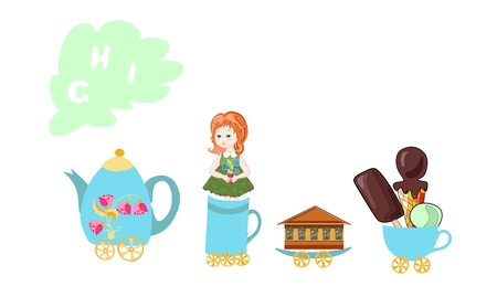 i kids: Cute cartoon english alphabet with colorful image. Teapot and cups train. Kids vector ABC. Letter G, H, I. Girl, house, ice cream. Illustration