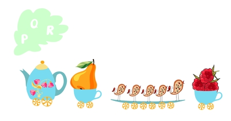Cute cartoon english alphabet with colorful image. Teapot and cups train. Kids vector ABC. Letter P, Q, R. Pear, queue, raspberries.