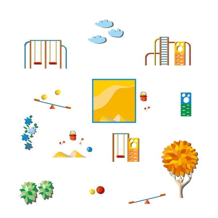 playschool: Kindergarten land. Set of elements on white background. Vector illustration.