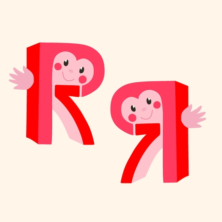Funny vector logotype. Letter R. Number 7. Illustration
