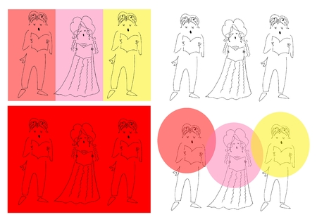 Vocal trio. Cute cartoon vector illustration.
