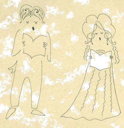 Vocal duet. Cute cartoon vector illustration.