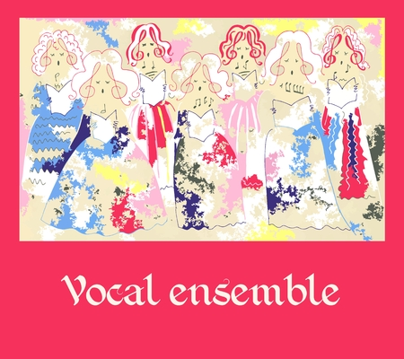 vocal: Female vocal ensemble. Cute cartoon poster.