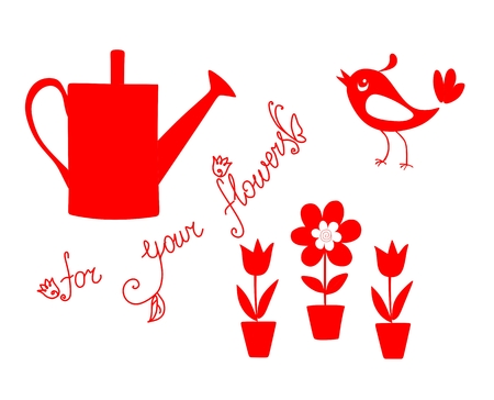 Red watering can, flowers in pots and cute bird. Vector illustration.