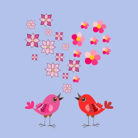 Cute cartoon birds and flowers heart. Valentines Day. Greeting card. Wedding invitation.