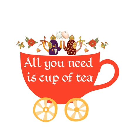 maternal: Maternal child cute cartoon poster card with teapots-children and  cup-stroller.