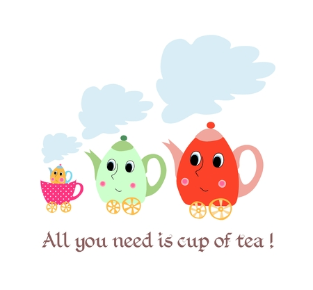 fatherhood: All you need is a cup of tea. Maternal child cute cartoon poster card with teapots-children and  cup-stroller. Tea time. Illustration