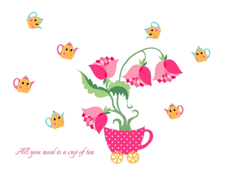 cupped: All you need is a cup of tea. Cute cartoon card with teapots, flowers and cups.