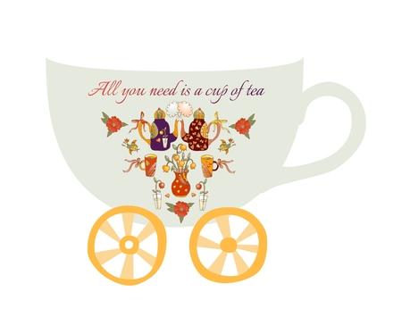 bebes lindos: Todo lo que necesita es una taza de té. Tarjeta de la historieta linda con teteras, tazas y flores.