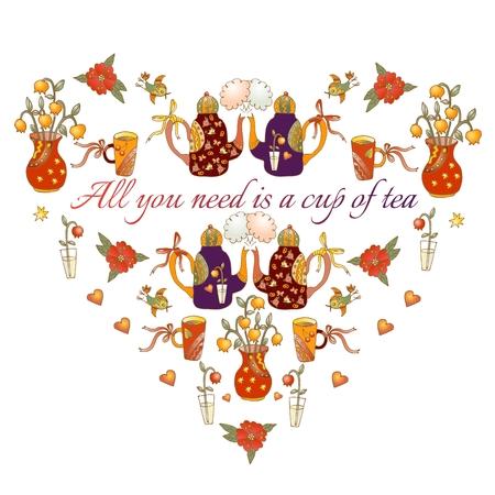 bebes lindos: corazón lindo del dibujo animado teteras, tazas, aves, mariposas y flores.