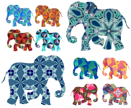 domesticated: Africa. Patchwork. Beautiful elephants on white background. Vector set. Decorative silhouettes.