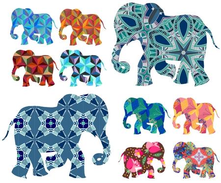 talisman: África. Labor de retazos. elefantes hermosas en el fondo blanco. set vector. siluetas decorativas.