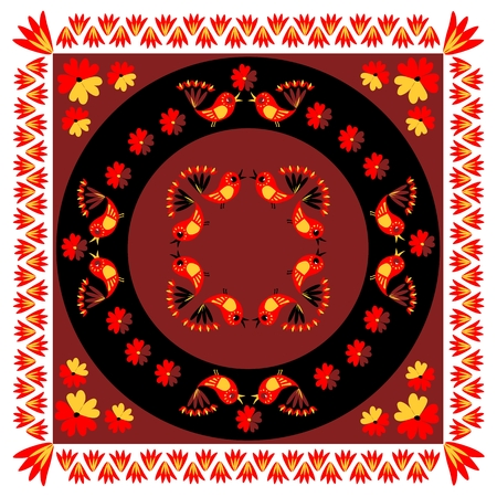 Lovely tablecloth with cute colorful birds and flowers. Vector image.  Ethnic bandana print. Illustration
