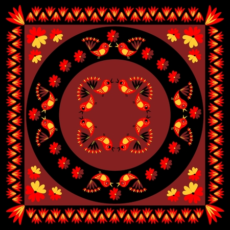 voile: Lovely tablecloth with cute colorful birds and flowers. Vector image.  Ethnic bandana print. Illustration