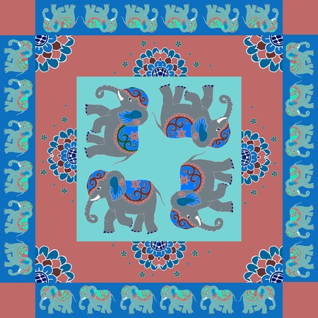 hanky: India. Lovely tablecloth or quilt. Ethnic bandana print with ornamental border. Silk neck scarf with flowers and elephants. Summer kerchief square pattern design style for print on fabric.