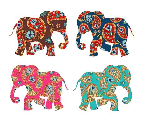 domesticated: India. Beautiful elephants with paisley on white background. Vector set. Decorative silhouettes. Illustration