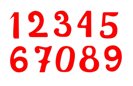 Set of red vector numbers isolated on white background.